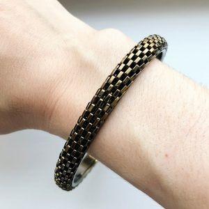 Vintage brassy gold snake chain bangle bracelet